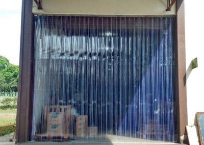 cortina double ribbed em tiras de pvc deposito