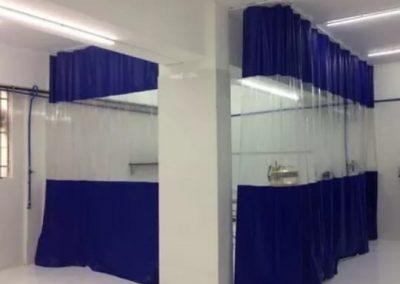 cortina em para cabine de pintura